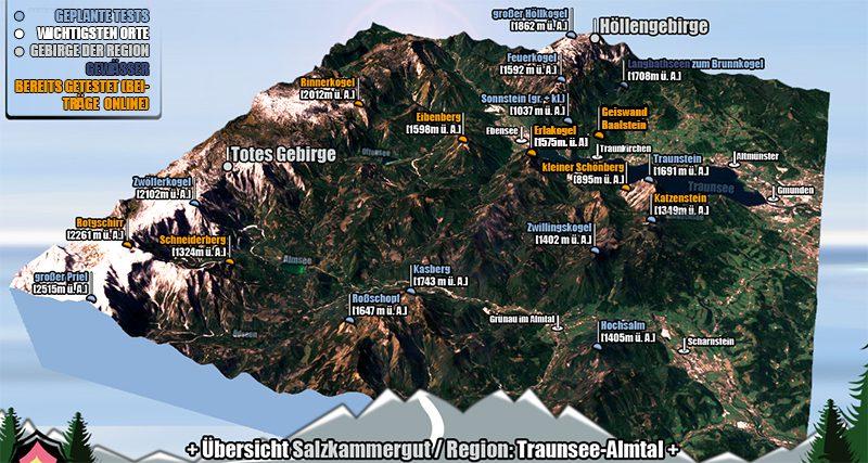 3D Plan der Region Traunsee und Almtal